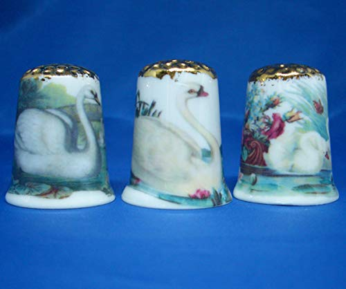 Birchcroft Porcelain China Collectable - Set of Three Thimbles - Gold Top Swans