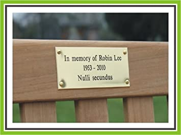 3 X 2 Engraved Polished Brass Bench Pet Memorial Plaque Sign By Engraving World