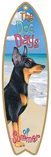 Dog Surfboard - SJT ENTERPRISES, INC. Miniature Pinscher Dog Surfboard Plaque Sign - Measures 5