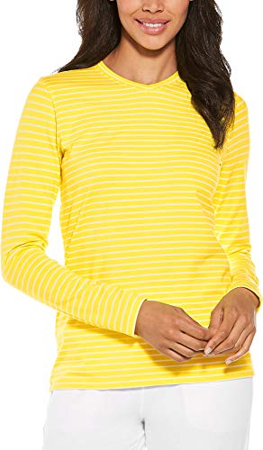 Coolibar UPF 50+ Women's Everyday V-Neck T-Shirt - Sun Protective (Small- Yellow/White Stripe)