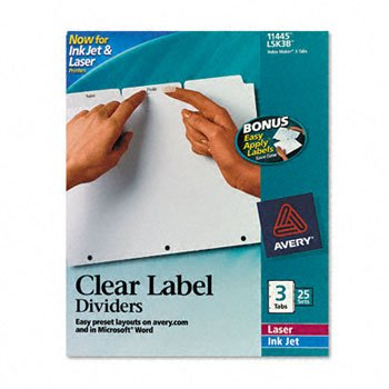 Avery 11445 Index Maker 3-Tab White Divider Clear Laser/Ink Jet Labels 25 Sets by Avery