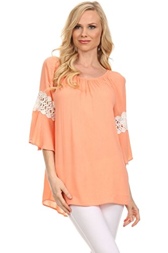 (Plus Size) Kimono Sleeve Lace Trimmed Convertible Blouse (MADE IN U.S.A) - Lace Trimmed Turtleneck