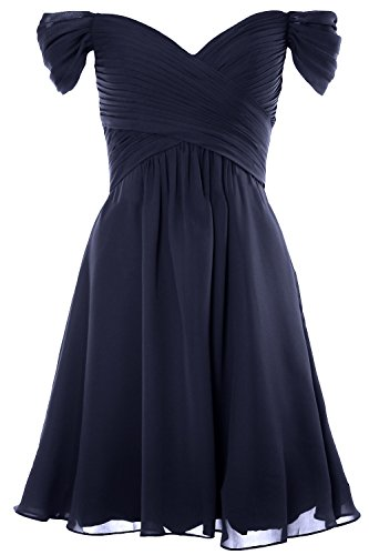 MACloth Women Off Shoulder Cocktail Dress 2018 Short Wedding Party Formal Gown Azul Marino Oscuro