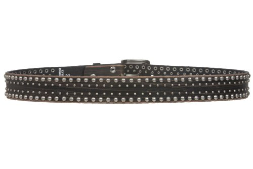 1-12-Snap-on-Antique-Silver-Circle-Metal-Studded-Distressed-Leather-Belt