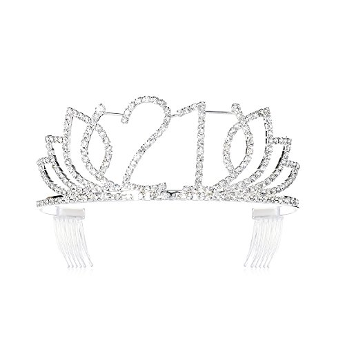 DcZeRong Princess Sweet Girls 21 Birthday Tiara Crown Silver Rhinestone Crystal Diamond Crown Tiara]()