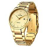WWOOR Men's Watch Original Analog Quartz Waterproof Watch with Date Fashion Business Stainless