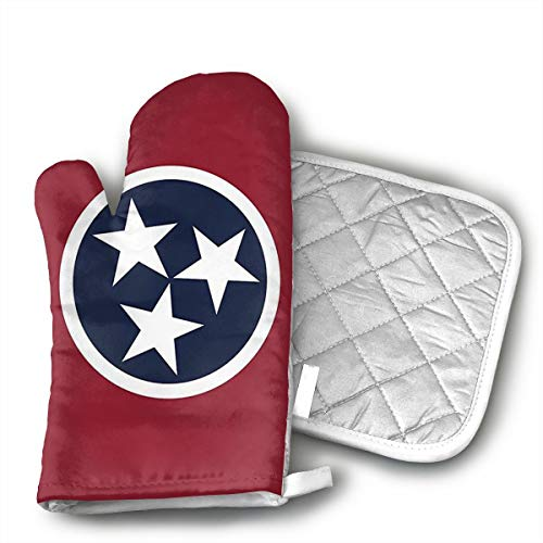 Tennessee State Flag Yourtablecloth Set of Oven Mitt and Pot Holder Or Oven Gloves-100% Cotton, High Heat Resistance, Superior Protection & Comfort¨CElegant Design