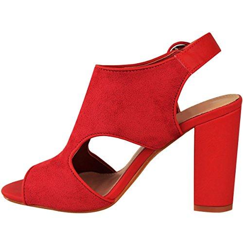 Mode Törstiga Kick Blockera Klack Sandaler Klippa Ut Skor Ankelbandet Storlek Jul Röd Faux Mocka