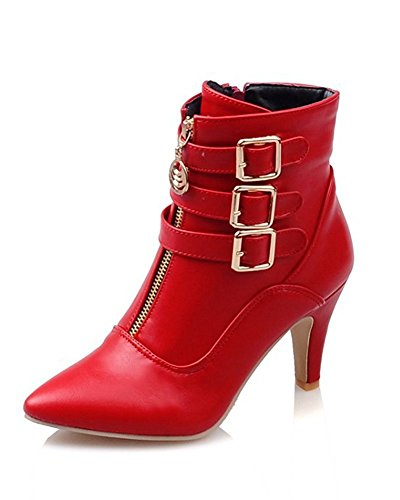 Maybest Women Autumn Winter Mid Calf Leather Boots High Heel Zipper Military Buckle Motorcycle Cowboy Ankle Booties Red 7 B (M) US