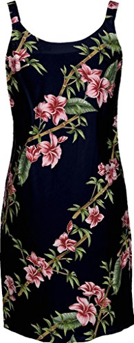 RJC Women's Scenic Bamboo Short Hawaiian Bias Cut Slip Dress Black Medium