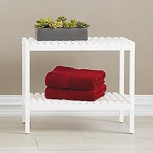 Amazon.com: Bristol Birch Wood Bathroom Bench in White: Kitchen ...