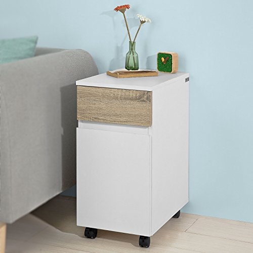 Haotian FBT54-WN, Side Table End Table Coffee Table on Wheels, Side Cabinet Table with 1 Drawer and 1 Door (Console Table 2 1 Round)