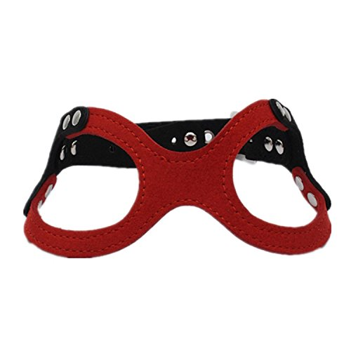 Dogs Kingdom Classic Leather Belt Dog Harness Dog Eyeglass Chest Strap Double-Sided Ultra-Fiber Material Red - Eyeglasses Material