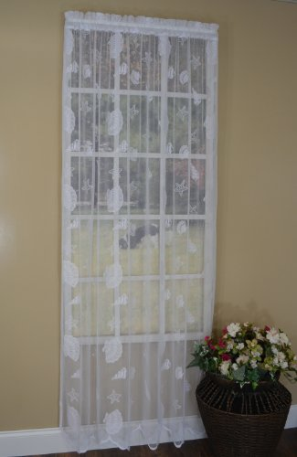Curtain Chic Seashells Lace Panel, 63-Inch, White ()