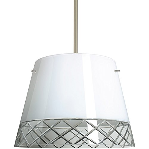 (Besa Lighting 1KT-4340WC-LED-SN 3X6W GU24 Amelia 15 LED Pendant with White/Hand-Cut Glass, Satin Nickel Finish)