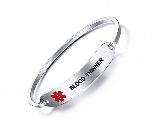 - VNOX BLOOD THINNER Bracelet Stainless Steel Medical Alert ID Bangle Bracelet 7.5