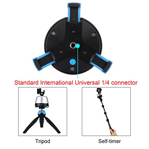 360° Panoramic Shooting, PULUZ Electric Intelligent Tripod Head Rotation with IR Remote Control & Build-in Bluetooth for Most of Cellphones & Cameras Max load: 1KG/2.2lb
