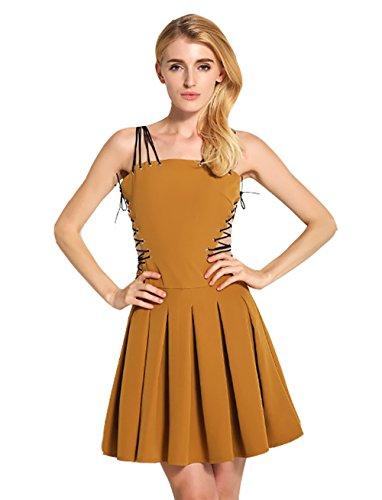 Wicky LS - Vestido - plisado - para mujer marrón