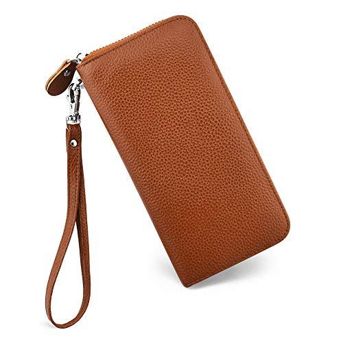 Brown Clutch Wallet - Womens Wallet RFID Blocking Genuine Leather Zip Around Wallet Clutch Wristlet Travel Long Purse for Women