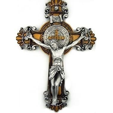 St. Saint Benedict Crucifix 2 Tone Wall Cross 10 Inch Religious Gift