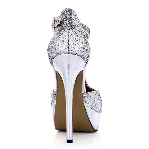 T Buckle Rubber Round Sole Best Shoes Sliver 3CM 14CM toe Sandals Glitter One Heels High Women's 4U Summer Platform strap Sequin XnF4Bqw
