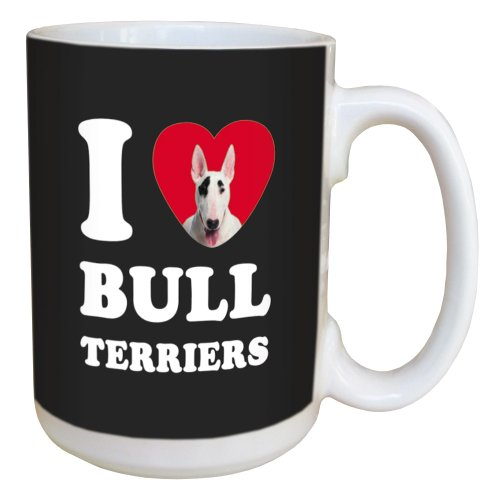 Tree Free Greetings LM45024 I Heart Bull Terriers Ceramic Mug with Full-Sized Handle, 15-Ounce, White