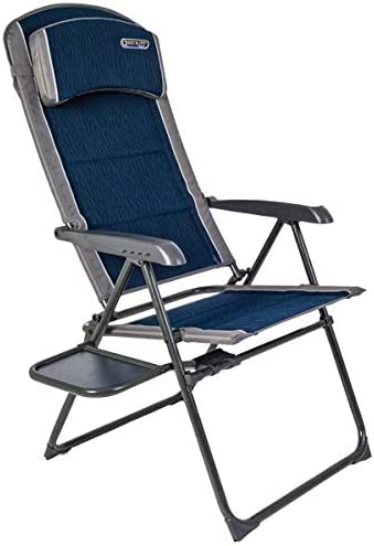 Quest Ragley Pro recline chair with side table. Camping