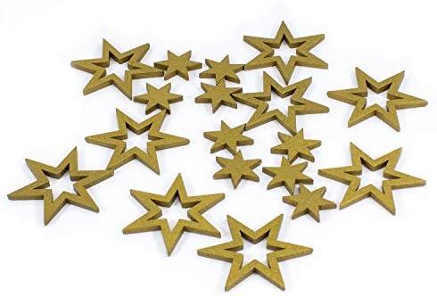 Weihnachtsdeko Gold.Oblique Unique 18 Holz Sterne Holzdeko Weihnachtsdeko Tischdeko Weihnachten Echtholz Farbe Wählbar Gold