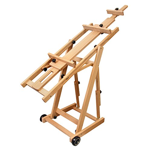 US Art Supply Master Multi-Function Studio Artist Wood Floor Easel, 19''Wide x 21''Deep x 56-1/2''High, (Adjusts to 97''High) by US Art Supply (Image #4)