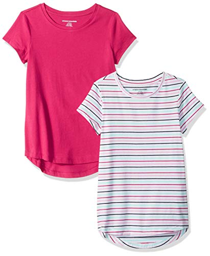 Amazon Essentials   Girls' 2-Pack Tunic Top, Stripe/Pink, M (8)]()