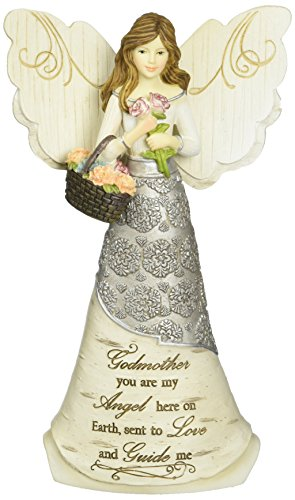 Elements Godmother Angel Figurine by Pavilion, 6-Inch, Holding Basket of Flowers, Godmother You are My Angel Here on Earth