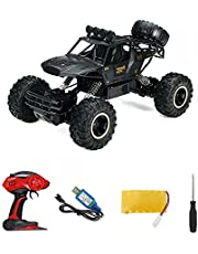4WD RC Monster Truck Off-Road Vehicle 2.4 Ghz Remote Control Buggy Car Toy AU (28cm Black-Double Batteries)