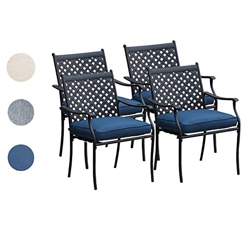 Top Space 4 Piece Metal Outdoor Wrought Iron Patio Furniture,Dinning Chairs Set with Arms and Seat Cushions 4 PC, Blue