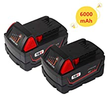 2Pack 6.0Ah 18V Replacement Lithium-ion Battery for Milwaukee M 18 xc 48-11-1860 48-11-1840 48-11-1850 48-11-1815 48-11-1820 48-11-1828 48-11-1852 48-11-1822 48-11-1811 for Milwaukee 18V Batteries