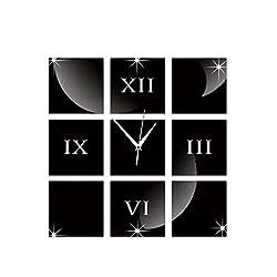 MCC Wall Clock DIY Square Mirror 3D Wall Stickers Roman Numerals PS Board , black