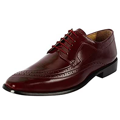 Liberty Men's Croco Ostrich Print PU Synthetic Leather Lace Up Dress Shoes Red Size: 8.5