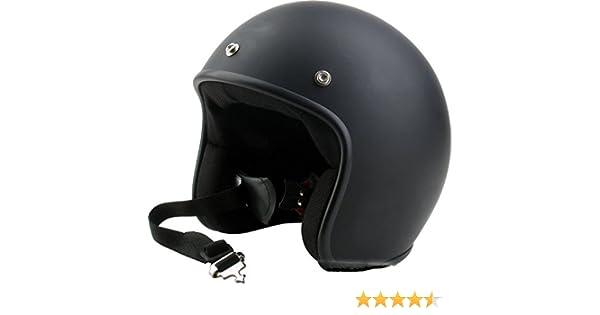 Helmet Casco Jet Color Negro Opaco Homologado Unido Vintage Custom Scrambler Caf/è Racer L negro