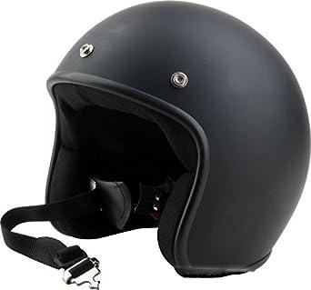 Helmet Casco Jet, Color Negro Opaco Homologado Unido Vintage Custom Scrambler Cafè Racer M negro