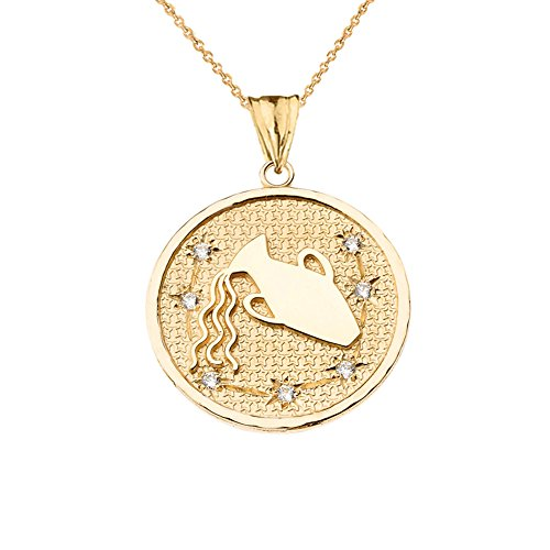 Unique Designer Diamond Aquarius Constellation Charm Pendant Necklace in Solid 14k Yellow Gold, 18