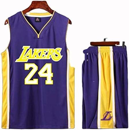 Kobe Bryant Los Angeles Lakers Jersey Set Basketball V/êtements Costume Uniformes Hommes,Violet,2XL