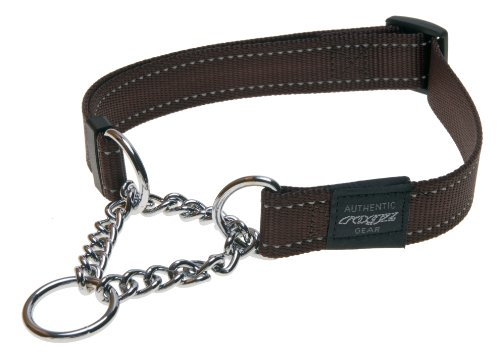 (ROGZ Reflective Nylon Choke Collar; Slip Show Obedience Training Gentle Choker for Extra Large Dogs, Brown)