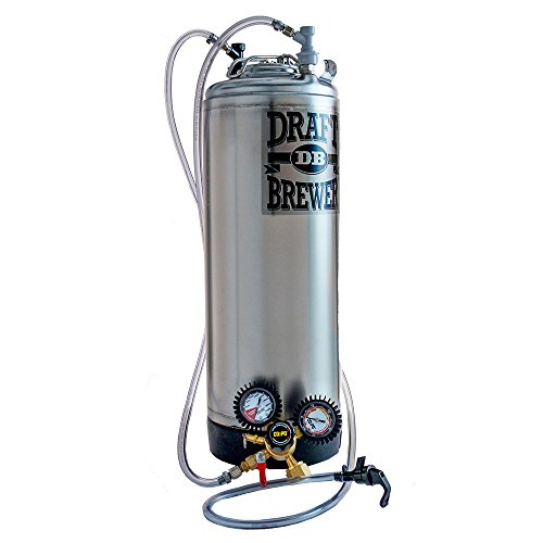 Draft Brewer Single Homebrew Kegging System for Home Brew Beer - with Dual Gauge CO2 Regulator and a Single Ball Lock Keg ()