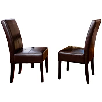 best selling chocolate brown tstitch leather dining chair 2pack