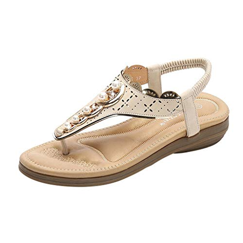Aunimeifly Women's Ethnic Style T-Strap Clip Toes Sandals Pearl Casual Beach Slippers Roma Flat Shoes White