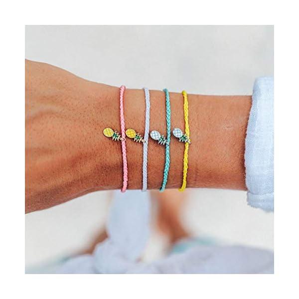 Pura Vida Silver or Gold Pineapple Enamel Charm Bracelet – Adjustable Band, 100% Waterproof