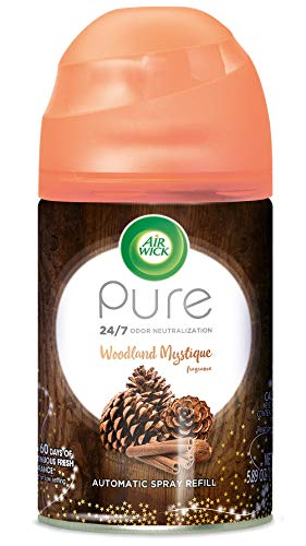 Air Wick Freshmatic Refill Automatic Spray, Woodland Mystique, 1ct, Fall scent, Fall spray, Essential Oils, Air Freshener, Odor Neutralization, Packaging May