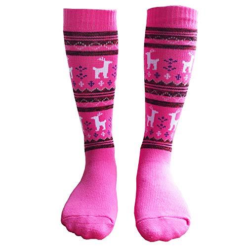 Ski Toddler Socks Little Boys Girls Winter Warm Sports Socks 1 Pair XS Pink