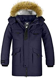 ZSHOW Boy's Long Winter Coat Thicken Quilted Parka Faux-Fur Trim Hooded Ja