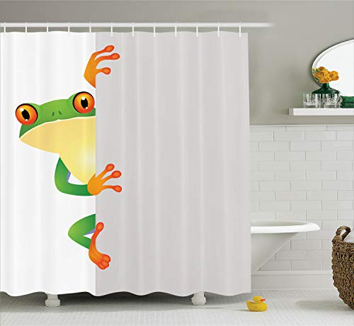 "Ambesonne Reptile Shower Curtain, Funky Frog Prince with Big Eyes on Wall Camouflage Nursery Reptiles Theme, Cloth Fabric Bathroom Decor Set with Hooks, 70"" Long, Yellow Green"