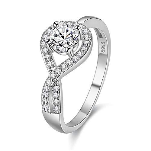 Uloveido Rhodium Plated Teardrop Hollow Swirl Infinity Ring Lab Created Diamond Wedding Anniversary Rings for Women (Size 9) WX022 ()
